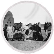 Cairo: Group Of Camels Round Beach Towel
