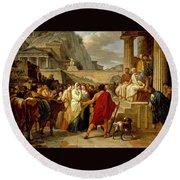 Caius Furius Cressinus Accused Of Sorcery Round Beach Towel