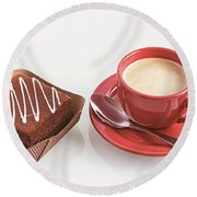 Cake And Cup Of Coffee Round Beach Towel