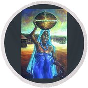Calabash Lady In Blue Round Beach Towel