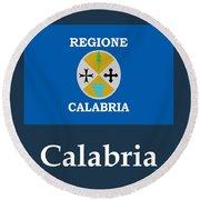 Calabria, Italy Flag And Name Round Beach Towel