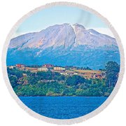 Calbuco Volcano Over Llanquihue Lake From Puerto Varas-chile Round Beach Towel