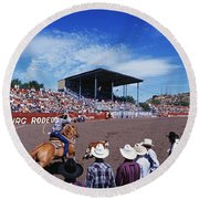 Calf Roping Event At Ellensburg Rodeo Round Beach Towel