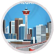 Calgary Alberta Canada Vertical Skyline Round Beach Towel