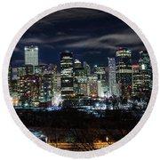 Calgary Skyline At Night Round Beach Towel