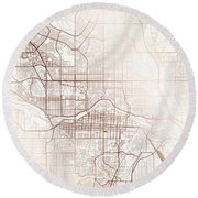 Calgary Street Map Colorful Copper Modern Minimalist Round Beach Towel