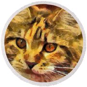 Calico Cat Round Beach Towel