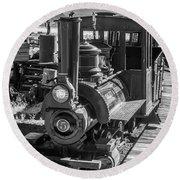 Calico Odessa Train In Black And White Round Beach Towel