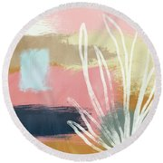 California Abstract- Art By Linda Woods Round Beach Towel by Linda Woods
