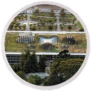 California Academy Of Sciences Living Roof In San Francisco Round Beach Towel