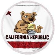 California Budget Begging Round Beach Towel