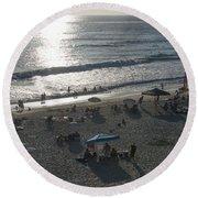 California Carlsbad Beach Almost Sunset Round Beach Towel