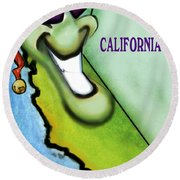 California Christmas Round Beach Towel