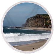 California Coast - Blue Round Beach Towel