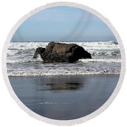 California Coast Ocean Waves 2 Round Beach Towel