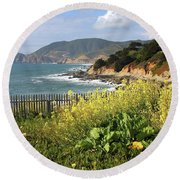 California Coast With Wildflowers And Fence Round Beach Towel