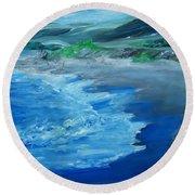 California Coastline Impressionism Round Beach Towel