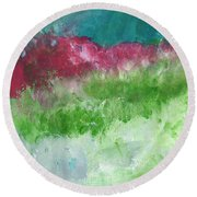 California Landscape- Expressionist Art By Linda Woods Round Beach Towel
