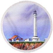 California Lighthouse Point Arena Round Beach Towel