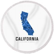California Map Art Abstract In Blue Round Beach Towel