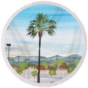 California Painting Round Beach Towel