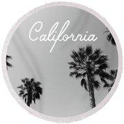 California Palm Trees By Linda Woods Round Beach Towel