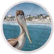 California Pelican Round Beach Towel by John Wadleigh