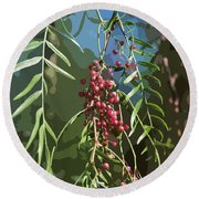 California Pepper Tree Leaves Berries Abstract Round Beach Towel
