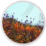 California Poppies And Wildflowers Round Beach Towel