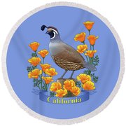 California Quail And Golden Poppies Round Beach Towel by Crista Forest
