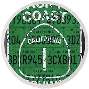 California Route 1 Pacific Coast Highway Sign Recycled Vintage License Plate Art Round Beach Towel