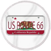 California Route 66 License Plate Round Beach Towel