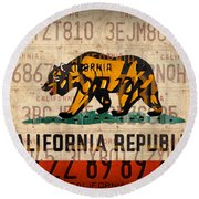 California State Flag Recycled Vintage License Plate Art Round Beach Towel