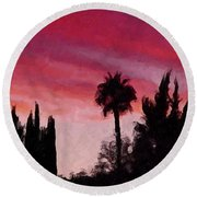 California Sunset Painting 1 Round Beach Towel