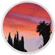 California Sunset Painting 3 Round Beach Towel