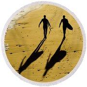 California Surfers On The Beach Round Beach Towel