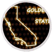 California - The Golden State Round Beach Towel