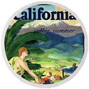 California This Summer Restored Vintage Poster Round Beach Towel