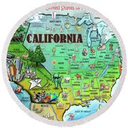 California Usa Round Beach Towel