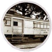 California Western  M 100 Gas Railcar  Skunk Train  Circa 1930 Round Beach Towel