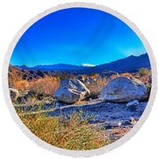 California Wilderness Panorama Round Beach Towel