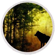 Call Of The Wolf Round Beach Towel