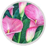Calla Lilies Round Beach Towel