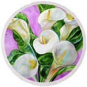 Calla Lillies 3 Round Beach Towel