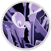 Calla Lillies Lavender Round Beach Towel