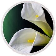Calla Lily Green Black Round Beach Towel