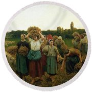 Calling In The Gleaners Round Beach Towel