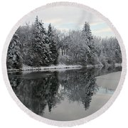 Calm And Frosty Round Beach Towel
