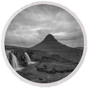 Calm Before The Storm At Kirkjufell Bw Round Beach Towel