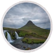 Calm Before The Storm At Kirkjufell Round Beach Towel